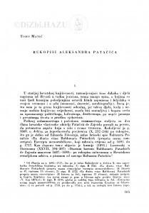 Rukopisi Aleksandra Patačića / T. Matić