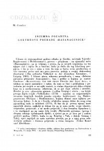 "Intimna pozadina Goetheove prerade ""Hasanaginice"" / M. Ćurčin"