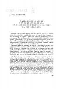 Nastajanje i razvoj novog bračnog prava na oslobođenom dijelu Hrvatske za prošlog rata / F. Čulinović