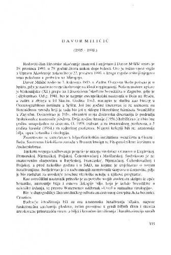 Davor Miličić : (1915.-1993.) / Zvonimir Devidé