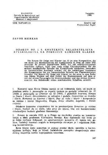 Odakov op. 1 u kontekstu skladateljeva stvaralaštva na području komorne glazbe / Davor Merkaš