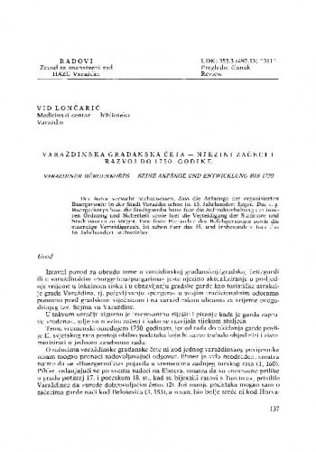 Varaždinska građanska četa : njezini začeci i razvoj do 1750. godine / Vid Lončarić