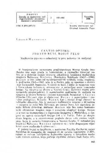 Cantio optima: Zdravo budi, božje telo (kajkavska pjesma o euharistiji iz prve polovice 16. stoljeća) / László Hadrovicz