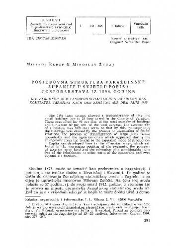Posjedovna struktura Varaždinske županije u svjetlu popisa gospodarstava iz 1895. godine / Milivoj Ređep, Miroslav Žugaj