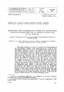 Analyse des dermatoglyphes du complexe digito-palmaire de la population de l'île d'Olib / Jasna Miličić, Ljerka Schmutzer, Damir Letinić,  André Chaventre, Pavao  Rudan