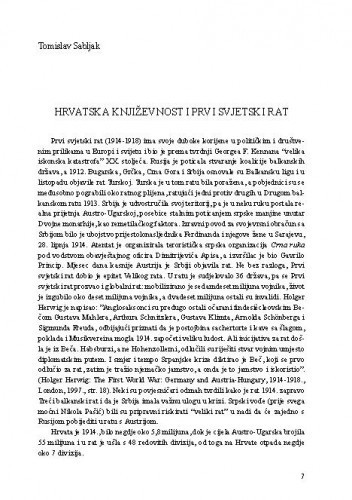 Hrvatska književnost i Prvi svjetski rat / Tomislav Sabljak