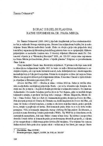 Borac s bijelih planina : ratne uspomene na dr. Ivana Merza / Šimun Cvitanović