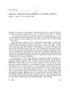 Simpozij: Kulturna baština Balkana i seizmički problemi / Sena Sekulić