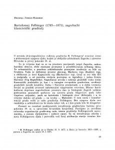 Bartolomej Felbinger (1785-1871), zagrebački klasicistički graditelj / Draginja Jurman-Karaman