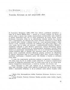 Tomislav Krizman za naš umjetnički obrt / Olga Maruševski