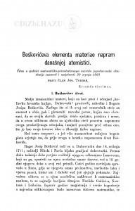 Boškovićeva elementa materiae napram današnjoj atomistici / J. Torbar