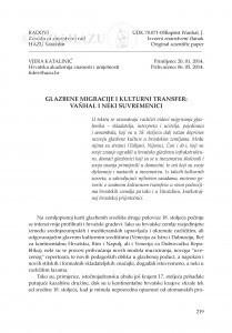 Glazbene migracije i kulturni transfer: Vaňhal i neki suvremenici / Vjera Katalinić
