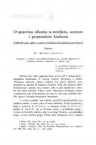 O spojevima nikotina sa mravljom, octenom i propionskom kiselinom : (Određivanje njihova sastava fizikalno-kemijskim metodama.) / M. Deželić