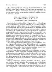 Edgar Degas: Skulpture, Galerija Klovićevi dvori, 15. III.-13. V., kustosi Dalit L. Durst i Marina Viculin : [likovna kronika] / Ivica Župan