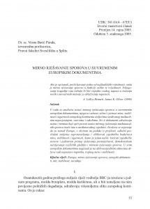 Mirno rješavanje sporova u suvremenim europskim dokumentima / Vesna Barić Punda
