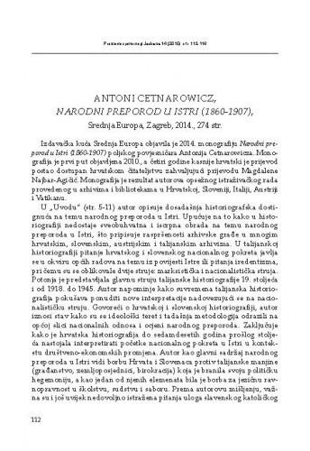 Antoni Cetnarovicz. Narodni preporod u Istri (1860-1907). Srednja Europa, Zagreb, 2014. : [prikaz] / Nikša Minić