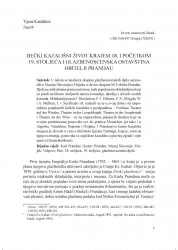 Bečki kazališni život krajem 18. i početkom 19. stoljeća i glazbenoscenska ostavština obitelji Prandau / Vjera Katalinić