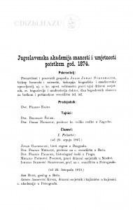 Jugoslavenska akademija znanosti i umjetnosti početkom god. 1874