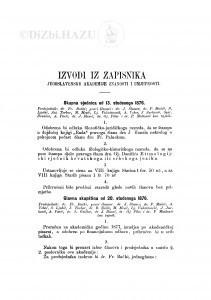 Izvodi iz zapisnika Jugoslavenske akademije znanosti i umjetnosti [1876]