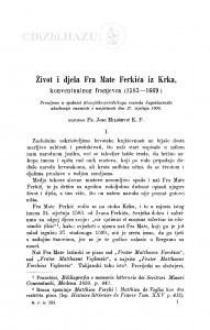 Život i djela fra Mate Ferkića iz Krka konventualnog franjevca (1583-1669) / J. Milošević