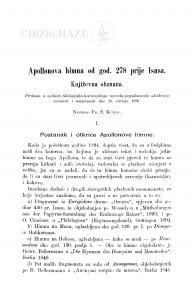 Apollonova himna od god. 278 prije Isusa : književna obznana / F. Š. Kuhač