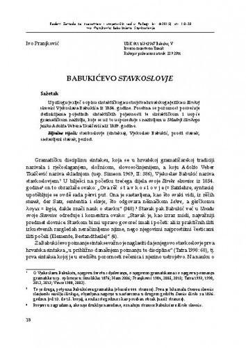 Babukićevo Stavkoslovje / Ivo Pranjković