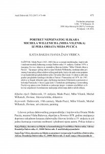 Portret nepoznatog slikara Michela Willenicha (Miha Vilenika) iz pera Orsata Meda Pucića / Katja Bakija, Sanja Žaja Vrbica