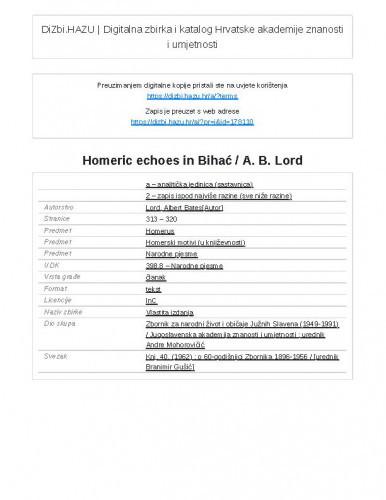 Homeric echoes in Bihać / A. B. Lord