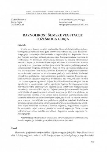 Raznolikost šumske vegetacije Požeškoga gorja / Dario Baričević, Irena Šapić, Marko Grbeš