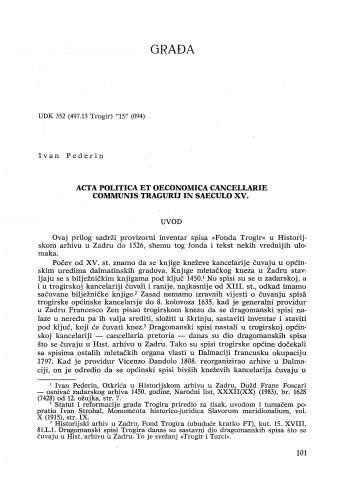 Acta politica et oeconomica cancellarie communis Tragurii in saeculo XV. / Ivan Pederin