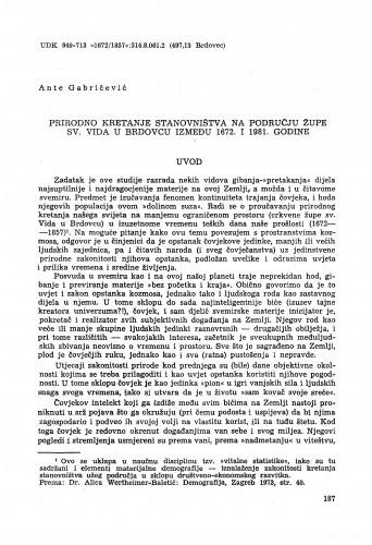 Prirodno kretanje stanovništva na području župe sv. Vida u Brdovcu između 1672. i 1981. godine / Ante Gabričević