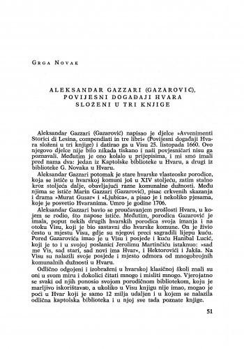 Aleksandar Gazzari (Gazarović), povijesni događaji Hvara složeni u tri knjige / Grga Novak