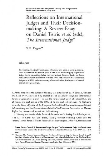 Reflections on International Judges and their Decision-Making: A Review Essays on Daniel Terris et al. (eds), The International Judge / V.D. Degan