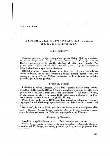 Historijska toponomastika grada Rijeke i distrikta : II. dio: Drenova / Vanda Ekl
