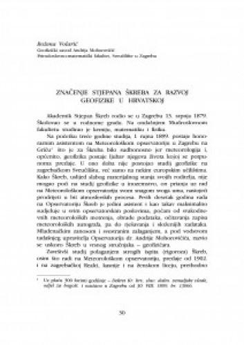 Značenje Stjepana Škreba za razvoj geofizike u Hrvatskoj