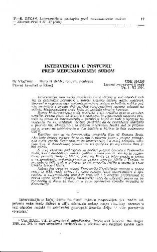 Intervencija u postupku pred Međunarodnim sudom / Vladimir-Đuro Degan