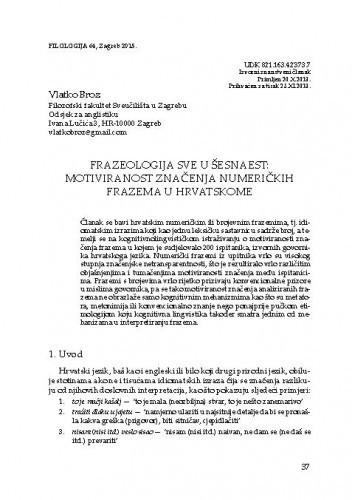 Frazeologija sve u šesnaest: motiviranost značenja numeričkih frazema u hrvatskome / Vlatko Broz