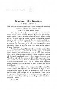 Banovanje Petra Berislavića za kralja Ljudevita II. / M. Mesić