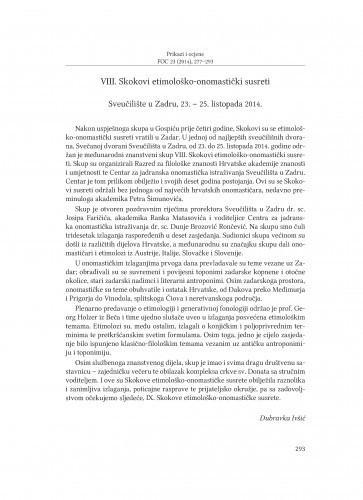 VIII. Skokovi etimološko-onomastički susreti : Sveučilište u Zadru, 23.-25. listopada 2014. : [prikaz] / Dubravka Ivšić
