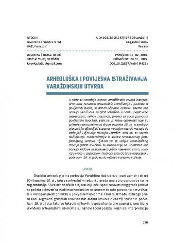 Arheološka i povijesna istraživanja varaždinskih gradskih utvrda / Lovorka Štimac-Dedić