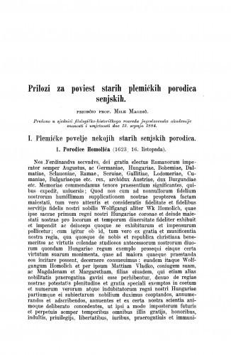Prilozi za poviest starih plemićkih porodica senjskih / Mile Magdić