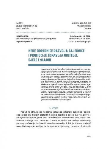 Neke odrednice razvoja zajednice i promocije zdravlja obitelji, djece i mladih / Nino Žganec