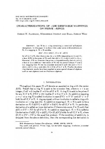 Characterizations of ∗-Lie derivable mappings on prime ∗-rings. Ahmad N. Alkenani, Mohammad Ashraf, Bilal Ahmad Wani