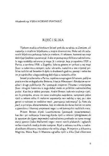 Riječ i slika : [komemorativni esej] / Vera Horvat-Pintarić