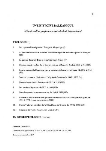 Une histoire Balkanique : Mémoires d'un professeur croate de droit international / Vladimir-Đuro Degan