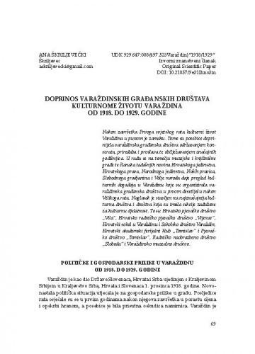 Doprinos varaždinskih građanskih društava kulturnome životu Varaždina od 1918. do 1929. godine / Ana Škriljevečki