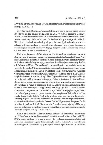 Zbornik Dubrovačkih muzeja IV, ur. Domagoj Perkić. Dubrovnik: Dubrovački muzeji, 2017. : [prikaz] / Danko Zelić