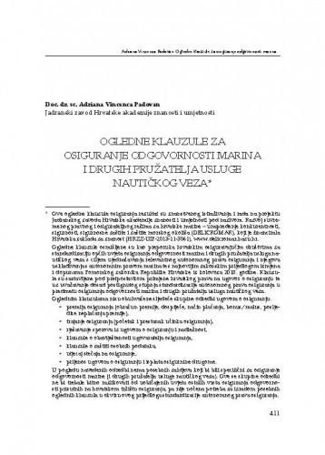 Ogledne klauzule za osiguranje odgovornosti marina i drugih pružatelja usluge nautičkog veza : [prilog] / Adriana Vincenca Padovan