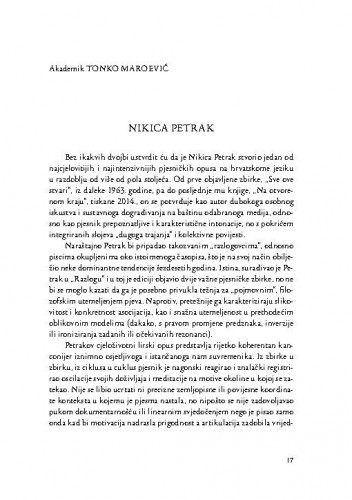 Nikica Petrak / Tonko Maroević