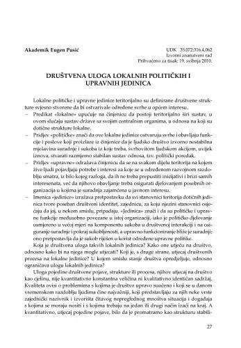Društvena uloga lokalnih političkih i upravnih jedinica : [uvodno izlaganje] / Eugen Pusić